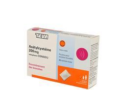 Acetylcysteine ratiopharm conseil 200 mg, poudre pour solution buvable en sachet-dose, boîte de 20 sachets-dose