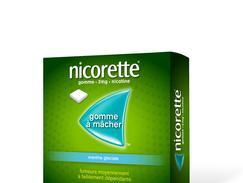 Nicorette menthe glaciale 2 mg sans sucre, gomme à mâcher médicamenteuse édulcorée au xylitol et à l'acésulfame potassique, boîte de 210