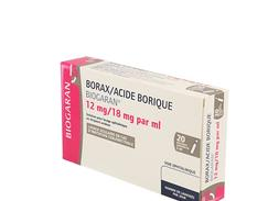 Borax/acide borique biogaran 12 mg/18 mg/ml solution ophtalmique boîte de 20 récipients unidoses de 5 ml