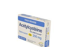 Acetylcysteine eg labo conseil 200 mg sans sucre, poudre pour solution buvable en sachet-dose, boîte de 18 sachets-dose