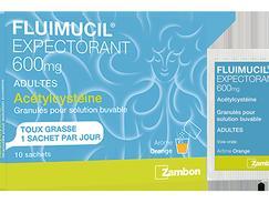 Fluimucil expec acetylcysteine 600 mg granulé pour solution buvable sachets boîte de 10
