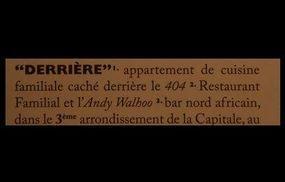 Restaurant Derrière
