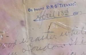 Une lettre écrite à bord du Titanic vendue aux enchères