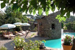 Sous les oliviers centenaires, un écrin de pierre rose et sa piscine.
