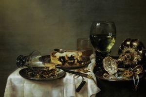 Table de petit-déjeuner avec confiture de mûres, de Willem Claesz. Heda (1631)
