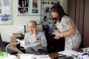 Gilles Bourdeau avec Catherine Nayl, la directrice de l'information de TF1.