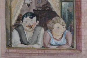 <i>Couple à la fenêtre</i>, aquarelle de Wilhelm Lachnit, 1923.©Melder.