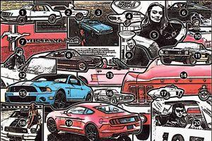 1. La très anguleuse Mustang de troisième génération lancée en 1979. 2 et 3. Les premières publicités. 4. L'un des premiers exercices de style de 1963. 5. L'actrice Tania Mallet dans Goldfinger. 6. Steve McQueen dans Bullitt. 7. Le badge Mustang évoquele pur-sang des Apaches. 8. La sportive GT350 dans sa livrée Hertz. 9. Henry FordII devant la Mustang. 10. Jane Fonda et un cabriolet dans La Curée. 11. La GT 350KRde 1968. 12. Tournage d'Un homme et une femme, avec Claude Lelouch et Jean-Louis Trintignant. 13. Bill Clinton en visite à Charlotte en 1994. 14. L'arrière typique de la version fastback 1965. 15. La Shelby GT500 de 2010. 16. Un projet de break de chasse. 17. Le concept Mustang de 1962. 18. Farrah Fawcett sur un capot de Mustang.19. La nouvelle Mustang. 20. Johnny Hallyday au départ du rallye de Monte-Carlo 1967.