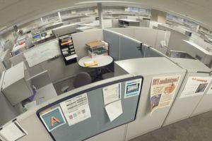 Des bureaux isolés par des cloisons, qui donnent l'impression de solitude. Credit: Bruce Forster.