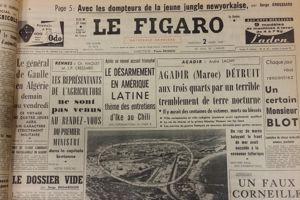 Photo aérienne du tremblement de terre d'Agadir parue dans <i>Le Figaro </i>du 2 mars 1960.
