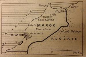 Carte du Maroc publiée dans <i>Le Figaro </i>du 2 mars 1960.