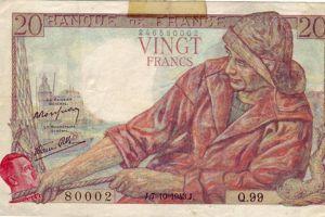 Plusieurs billets de 20 francs «pêcheur» ont été ornés de la tête d'Hitler dans les années 1940.