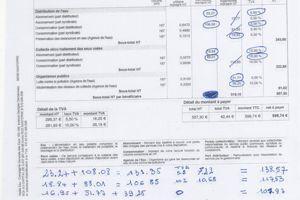 Une facture d'eau «corrigée» par Jacques Margalef . La note finale passe de 599 euros à 364 euros.