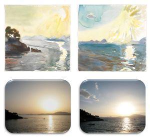 En haut: les toiles peintes en juin 2010 par Panayiotis Testis, pendant (à gauche) et après (à droite) le passage d'un vent de sable du Sahara. En bas, des photos numériques du même paysage, prises aux mêmes moments.