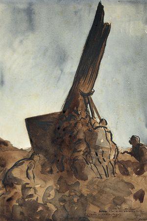 Installation du premier arbre-observatoire au Bois-de-Live à Lihons-en-Santerre (Somme), le 16 mai 1915. Lavis d'encre et aquarelle, Jean-Louis Forain.