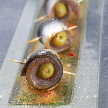 Sardines crues marinées, sauce au poivron rouge