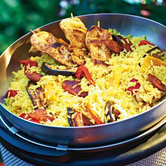 Riz, légumes et poulet