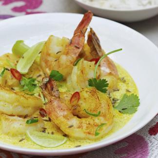 Curry léger de crevettes à la noix de coco