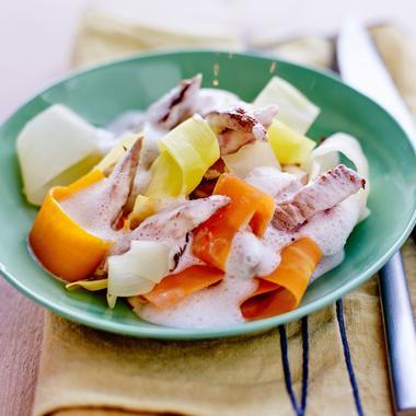 Wok de veau et tagliatelles de légumes