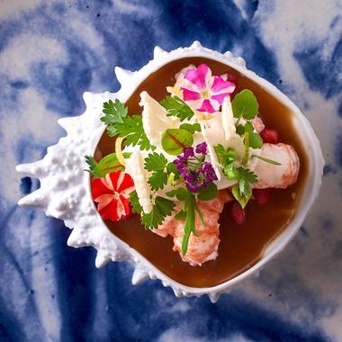 Salade d'écrevisses, chou-fleur, vinaigrette Passion