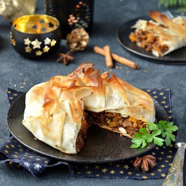 Pastilla de tempeh, potimarron et châtaignes