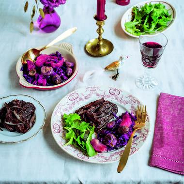 Seitan végan au cacao et ses légumes d'hiver