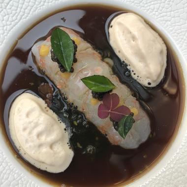 Langoustine à la nage, tartare d'algues
