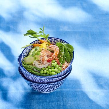 Bowl de crevettes et de légumes