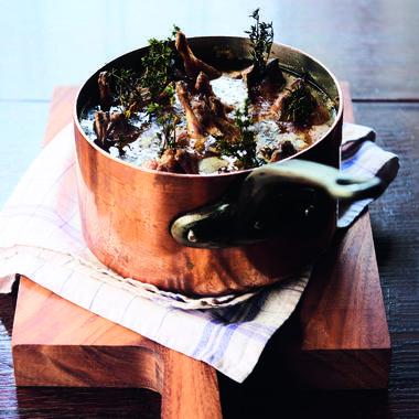 Caille des prés confites au laurier et genévrier, thym serpolet et fleur de sel