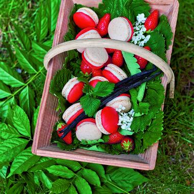 Macaron aux fraises et ganache vanille