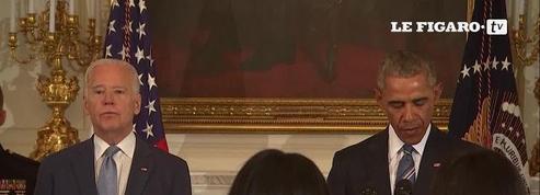Ému aux larmes, Joe Biden reçoit la médaille présidentielle de la Liberté