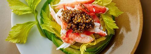 King crabe, avocat et caviar