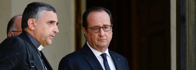 Dominique Lebrun, archevêque de Rouen, et François Hollande.