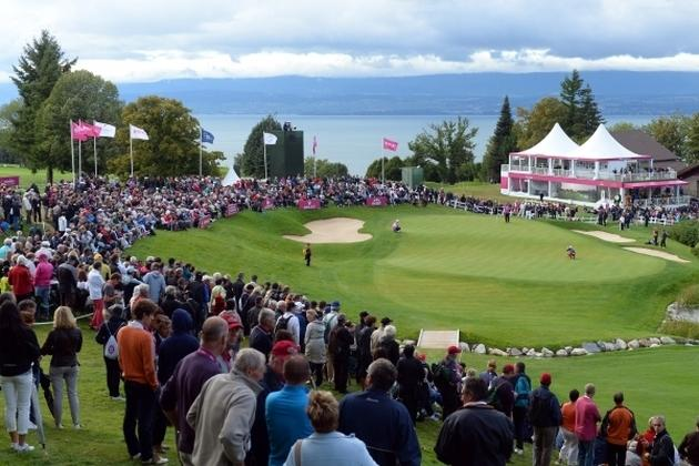 Elément essentiel du puzzle de l'Evian Resort golf club, le green du trou n°18.