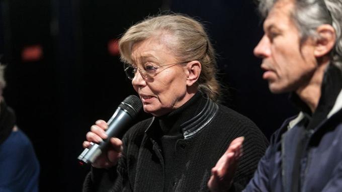 La productrice d'<i>Amour, </i>Margaret Menegoz, ce jeudi matin au cinéma du Panthéon, à Paris, dénonce une décision qui va «accentuer les délocalisations de tournage». <i></i>