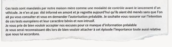 Extrait d'un courriel envoyé par BMW-France à Vincent Bolloré le 7 septembre, reconnaissant des «tests» réalisés sur les Autolib'