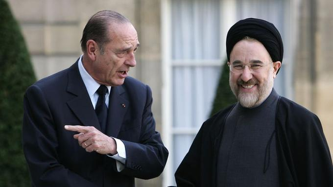 Jacques Chirac et Mohammad Khatami en 2005.