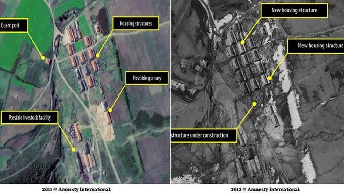 Les deux images montrent l'évolution du camp n°16 situé dans le nord du pays. On peut y voir la création de nouvelles maisons. Le poste de garde à proximité immédiate du village permet la surveillance constante des prisonniers.