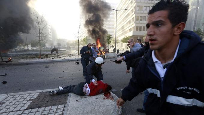 Le corps de Mohammad Chaar après l'explosion survenue au milieu de la matinée de vendredi dans le coeur de Beyrouth.