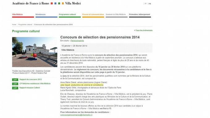 Capture d'écran du site de la Villa Médicis.