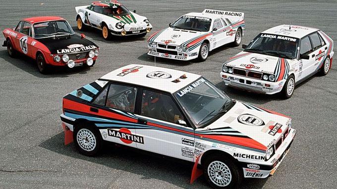 Réunion de reines du rallye. Il manque toutefois la Delta S4 Groupe B sur cette photo.