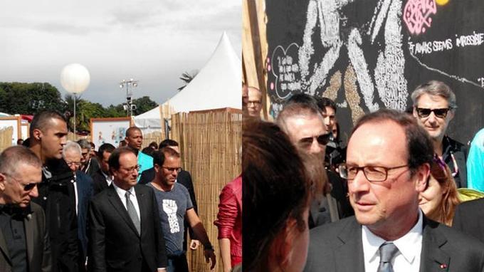 François Hollande au festival Solidays accompagné par Luc Barruet et Antoine de Caunes. (Image: Violaine Morin)