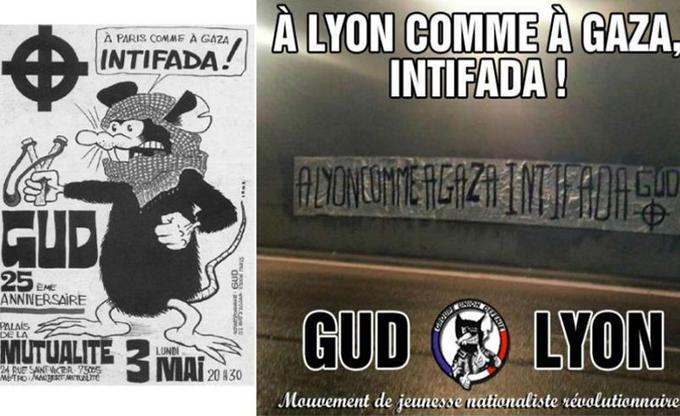 À gauche, une affiche du GUD datant de 1993. À droite une image du GUD Lyon, publiée récemment.