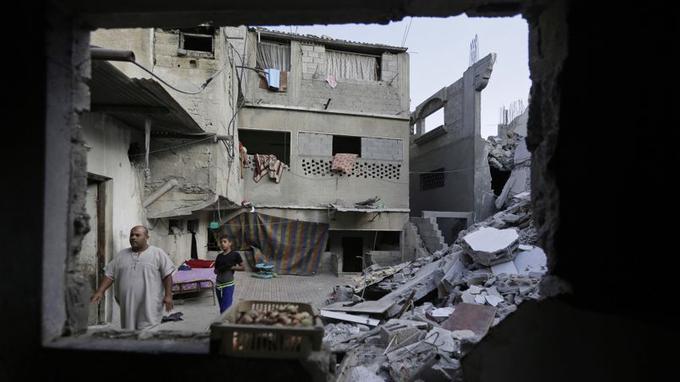 Un immeuble détruit, dans le nord de la bande de Gaza.