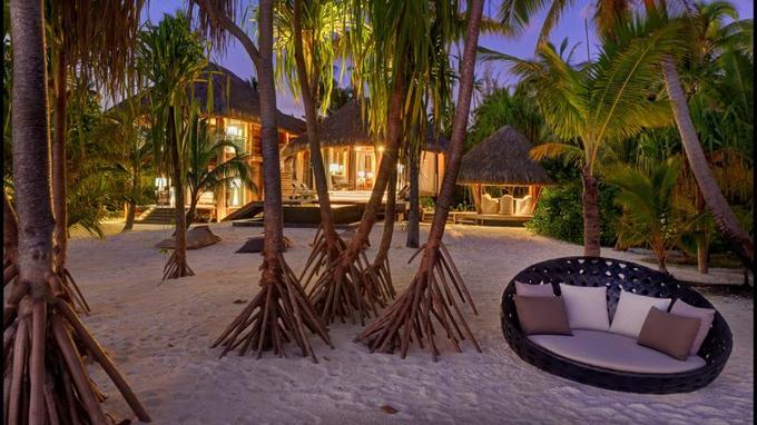 Les 35 villas du Brando ouvrent directement sur la plage, après avoir traversé un jardin planté de cocotiers et de pandanus.