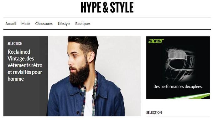 Capture d'écran de la page d'accueil (Crédit: Hype & Style)