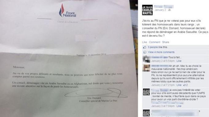 La réponse d'Eric Domard publiée sur le compte Facebook de l'électeur. Crédits photo: Lauren PROVOST