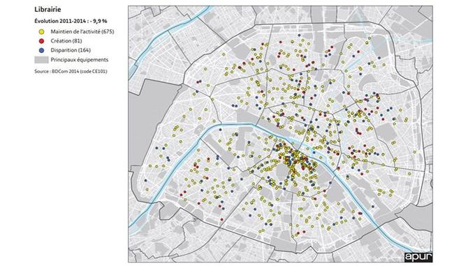 Carte réalisée par l'Apur qui montre l'évolution des librairies à Paris de 2011 à 2014.