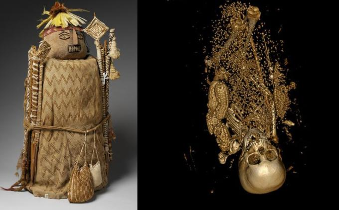 Un fardo péruvien passé au scanner révèle la présence de graines de cotons, de maïs et les restes humains d'un jeune enfant, la tête vers le bas.