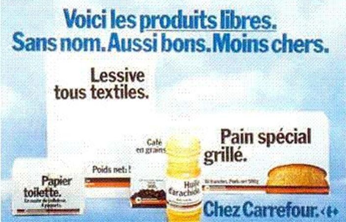 Les «produits libres» lancés par Carrefour en 1976